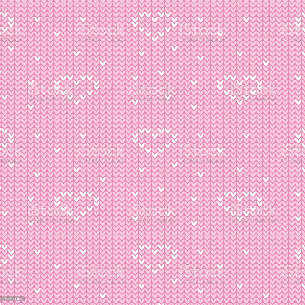 soft pink and white heart sign with spot knitting pattern background vector art illustration