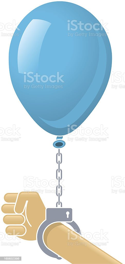 Soft power. Fist with Handcuff Blue Balloon. royalty-free stock vector art