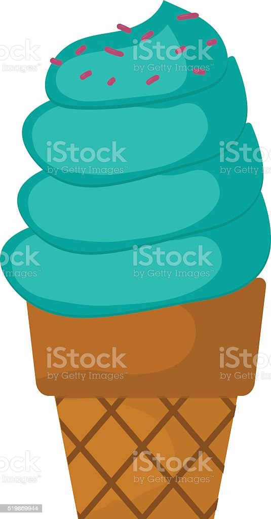 Soft serve ice cream in chocolate on wooden stick with vector art illustration
