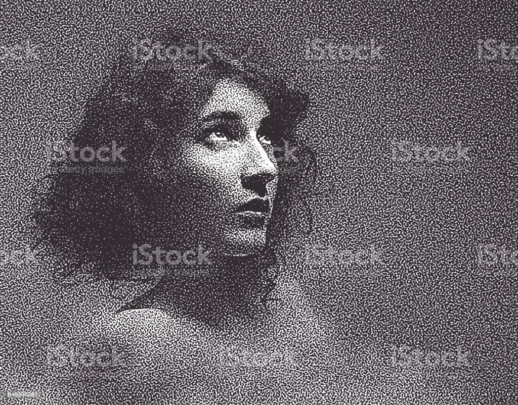 Soft stipple portrait of a cute, shy young woman vector art illustration