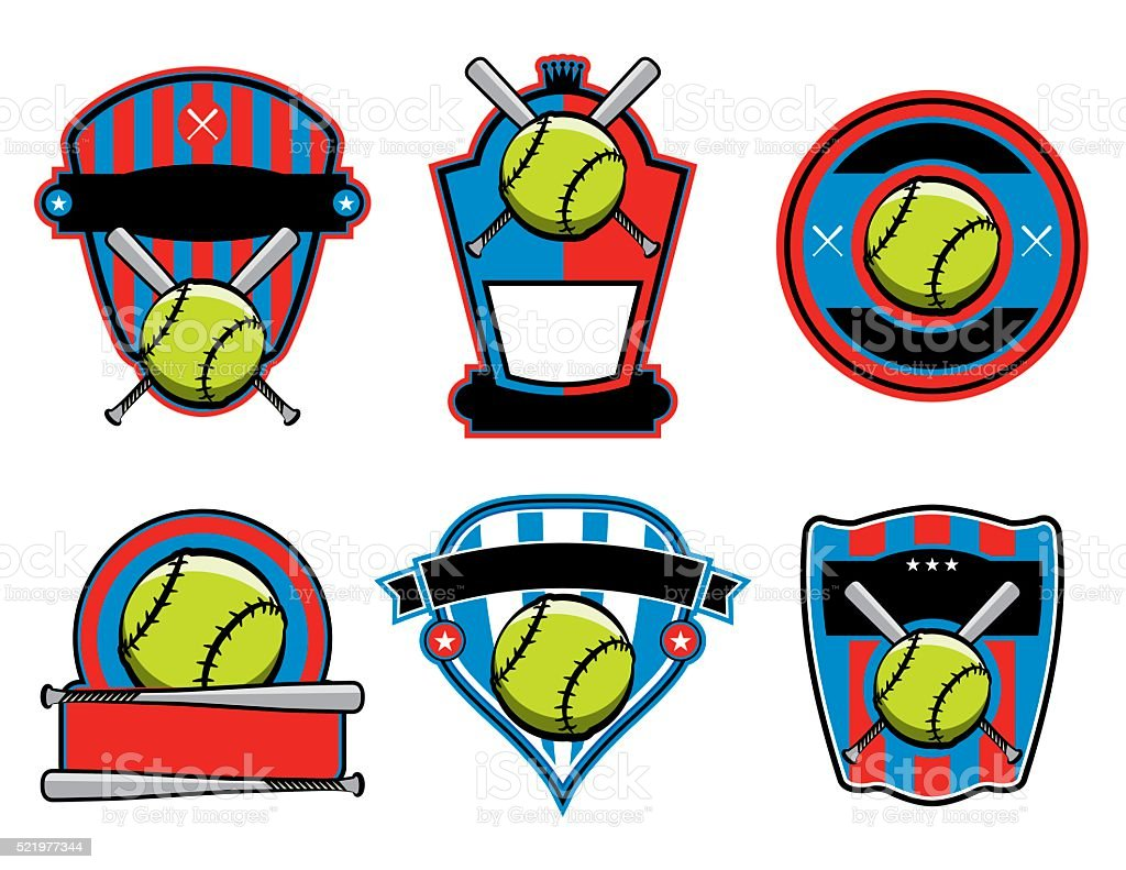 A set of softball and bat emblems, badges, and patches. Vector EPS 10...