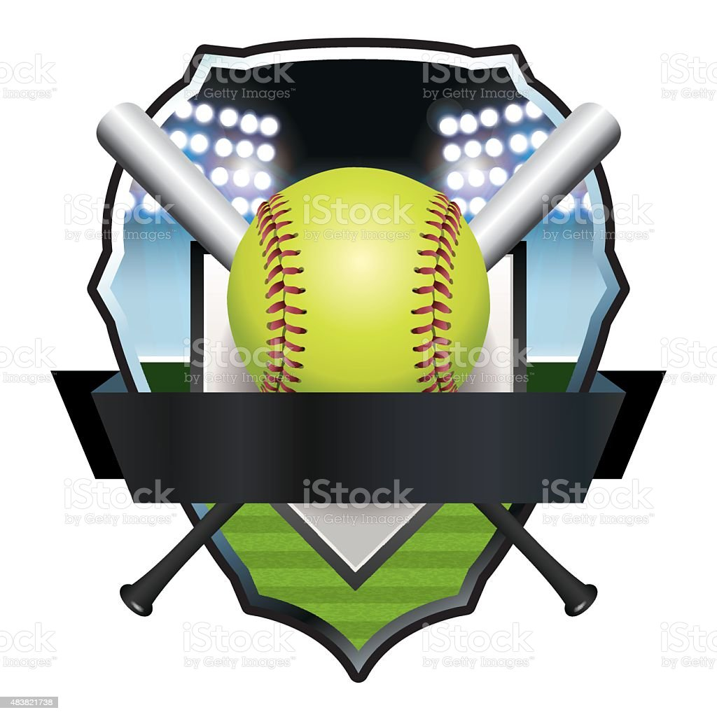Softball Emblem Badge Illustration vector art illustration