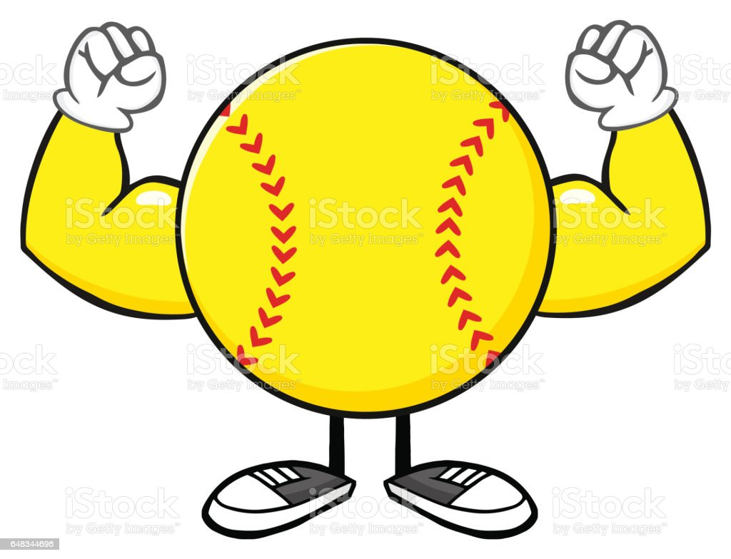 Softball Faceless Cartoon Mascot Character Flexing. Illustration...