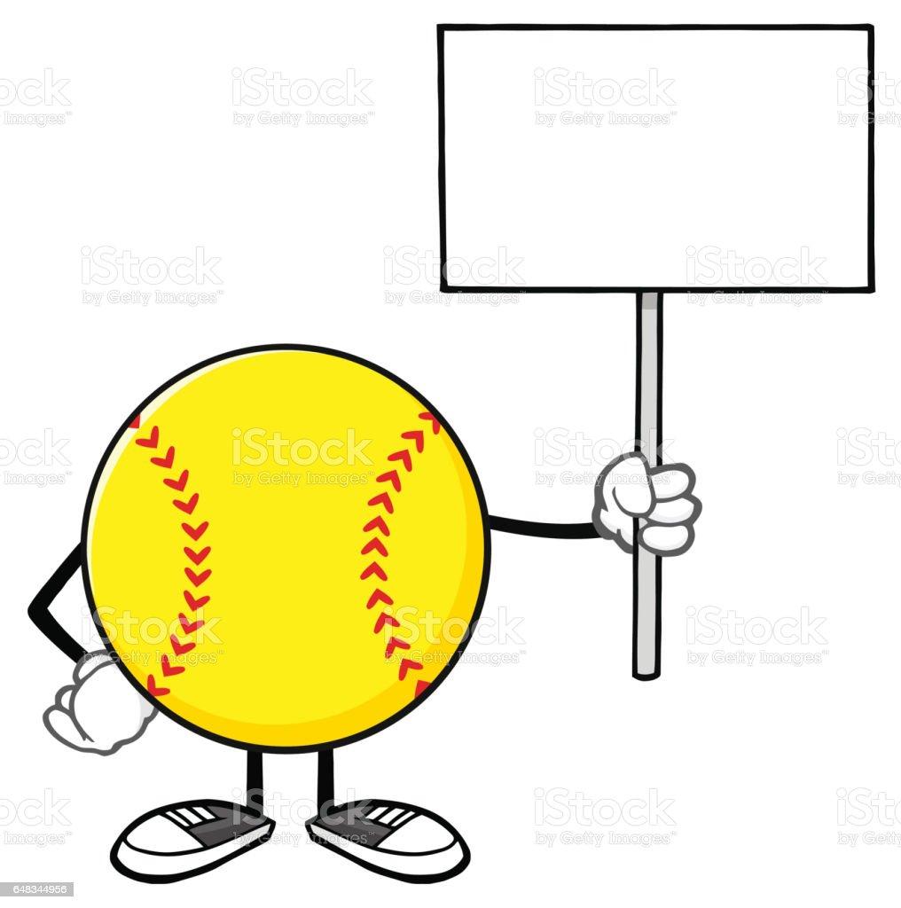 Softball Faceless Cartoon Mascot Character Holding A Blank Sign....