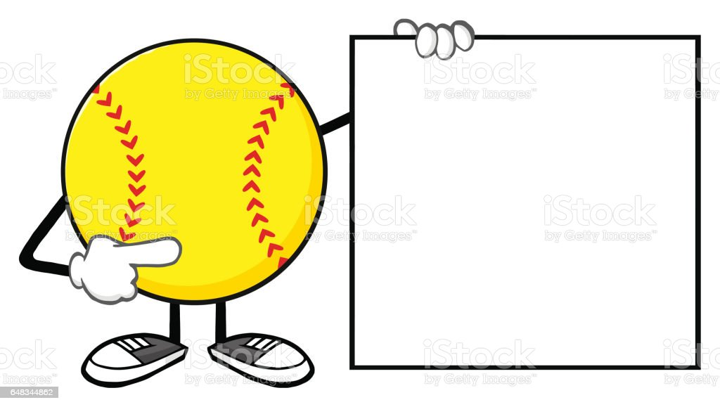 Softball Faceless Cartoon Mascot Character Pointing To A Blank Sign....