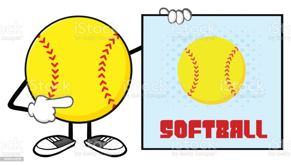 Softball Faceless Cartoon Mascot Character Pointing To A Sign With...