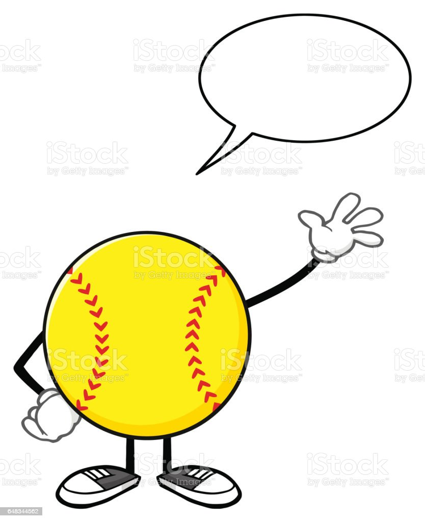 Softball Faceless Cartoon Mascot Character Waving For Greeting With...