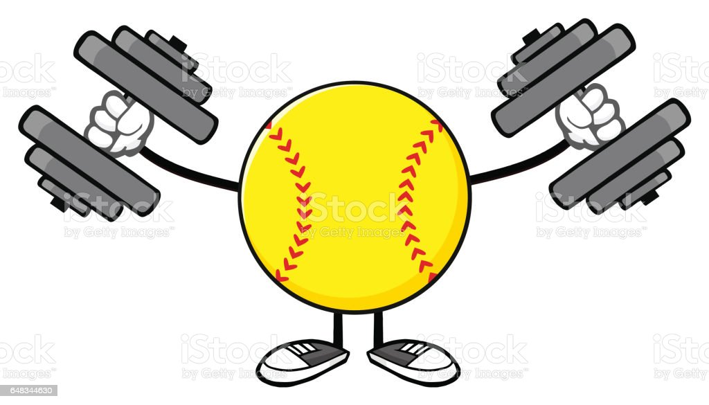 Softball Faceless Cartoon Mascot Character Working Out With...