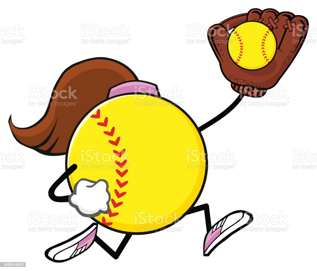 Softball Faceless Girl Player Cartoon Mascot Character Running With...