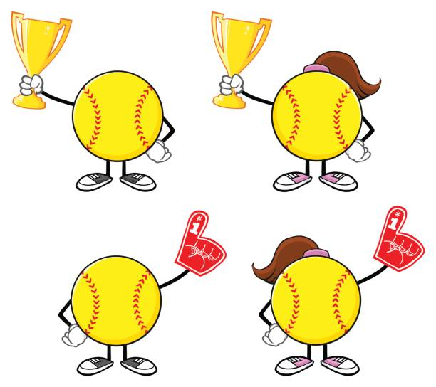 Cartoon Of The Softball Icons Clip Art, Vector Images ...