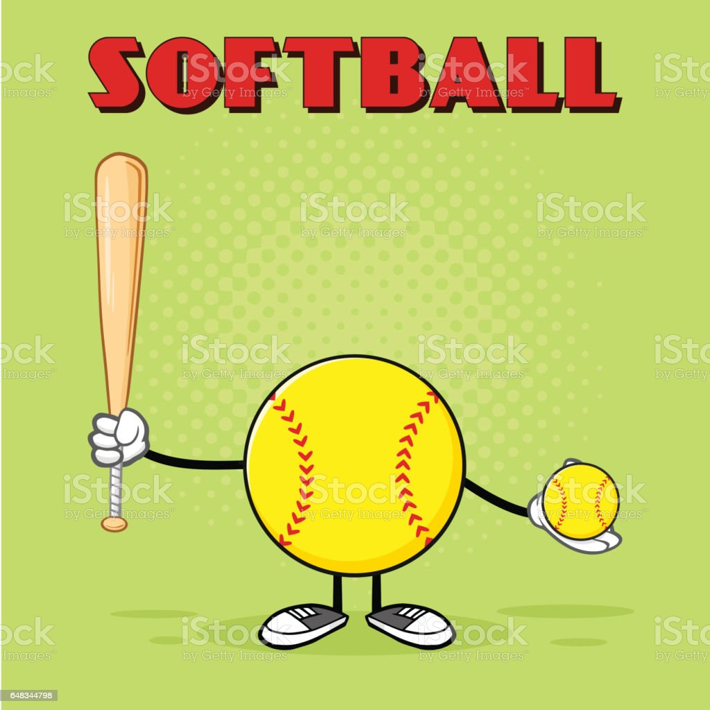 Softball Faceless Player Cartoon Mascot Character Holding A Bat And...