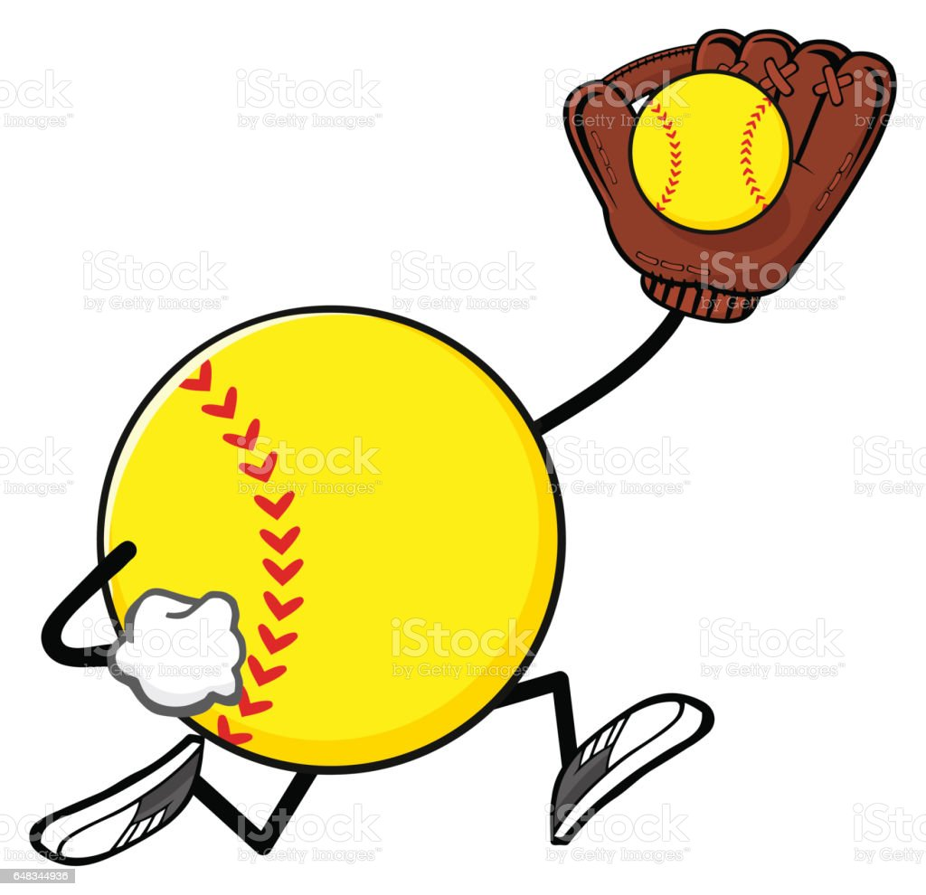 Softball Faceless Player Cartoon Mascot Character Running With Glove...