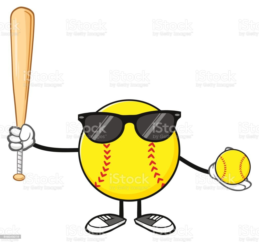 Softball Faceless Player Cartoon Mascot Character With Sunglasses...