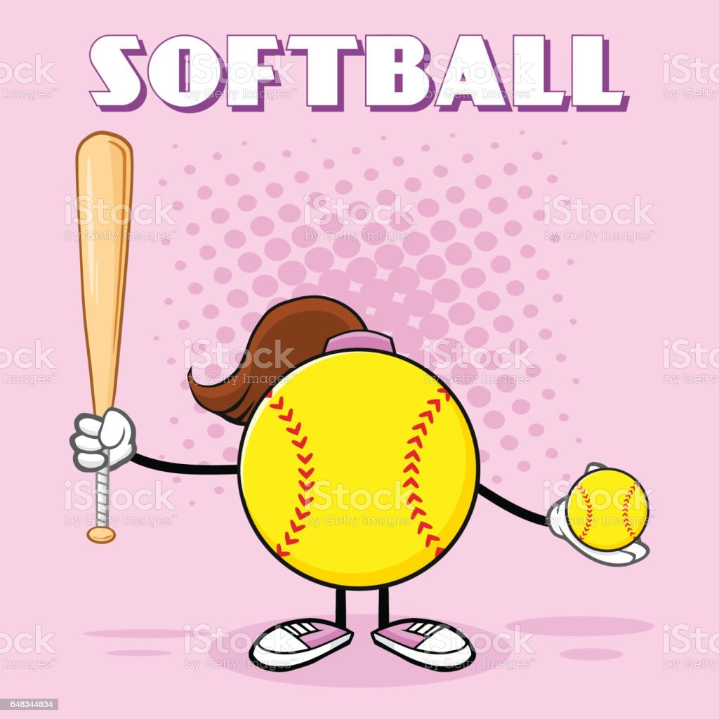 Softball Girl Faceless Cartoon Mascot Character Holding A Bat And...