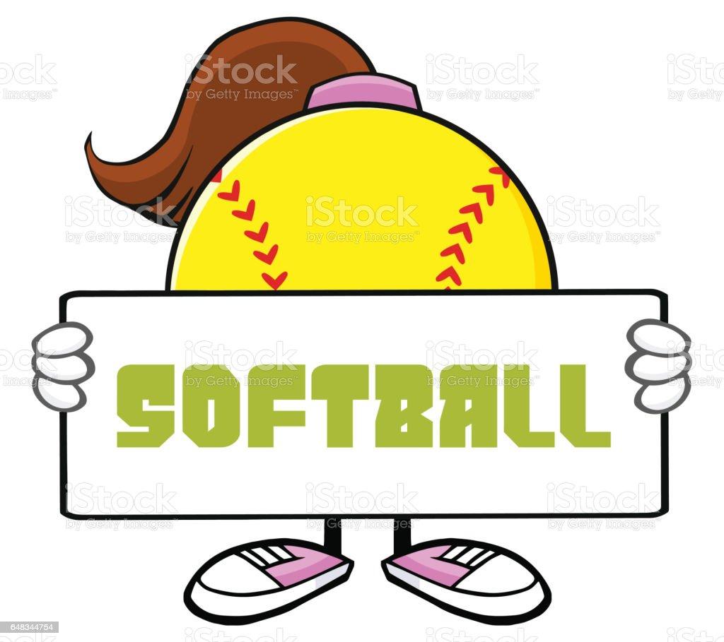 Softball Girl Faceless Cartoon Mascot Character Holding A Sign....