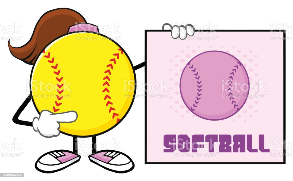 Softball Girl Faceless Cartoon Mascot Character Pointing To A Sign...