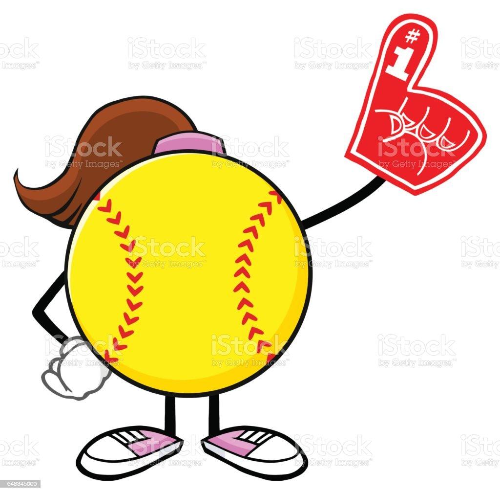 Softball Girl Faceless Cartoon Mascot Character Wearing A Foam...