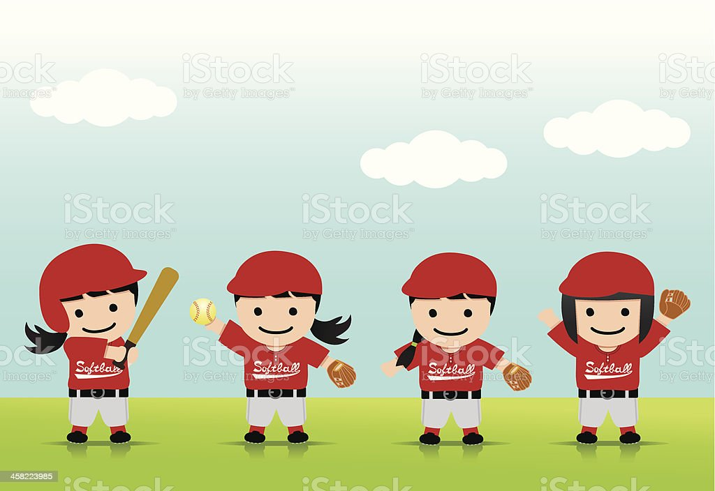 Softball Girls Asia vector art illustration
