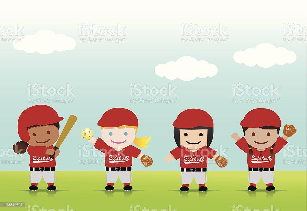 Softball Girls Mix vector art illustration