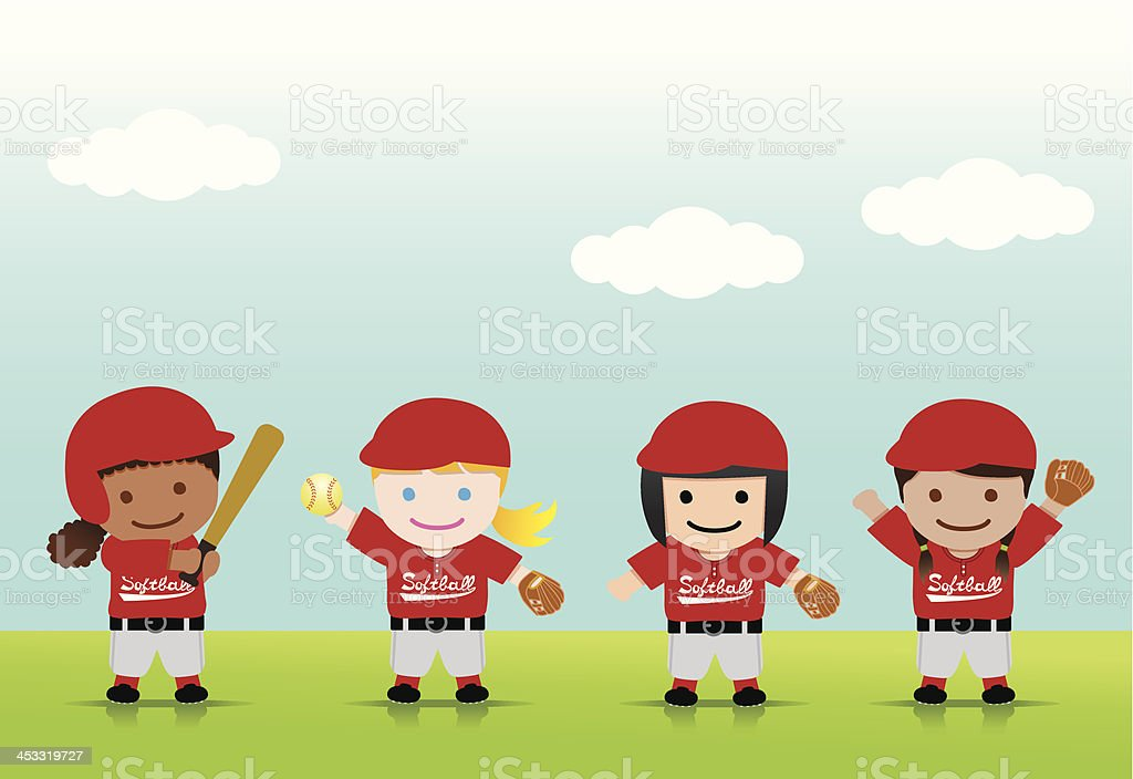Softball Girls Mix vector art illustration
