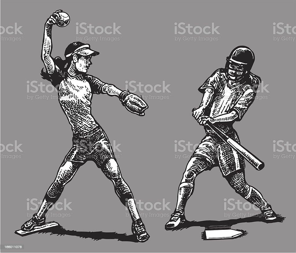 Softball - Girls vector art illustration