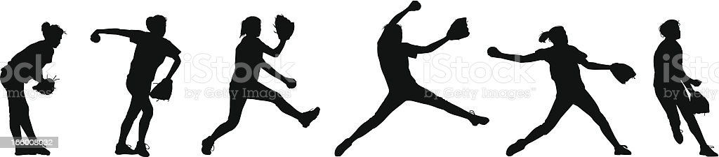 Softball Pitching Sequence royalty-free stock vector art