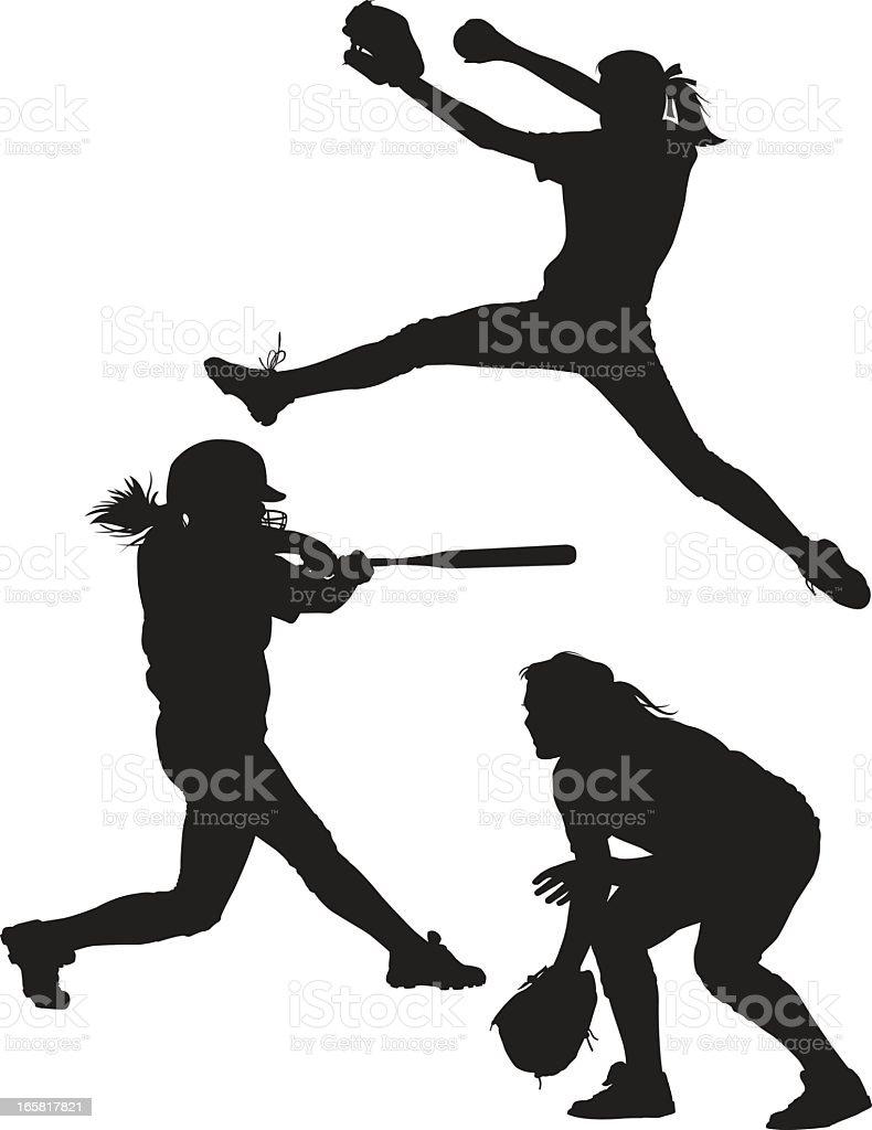 Softball Silhouettes vector art illustration