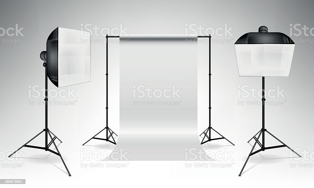 Softboxes and backdrop vector art illustration