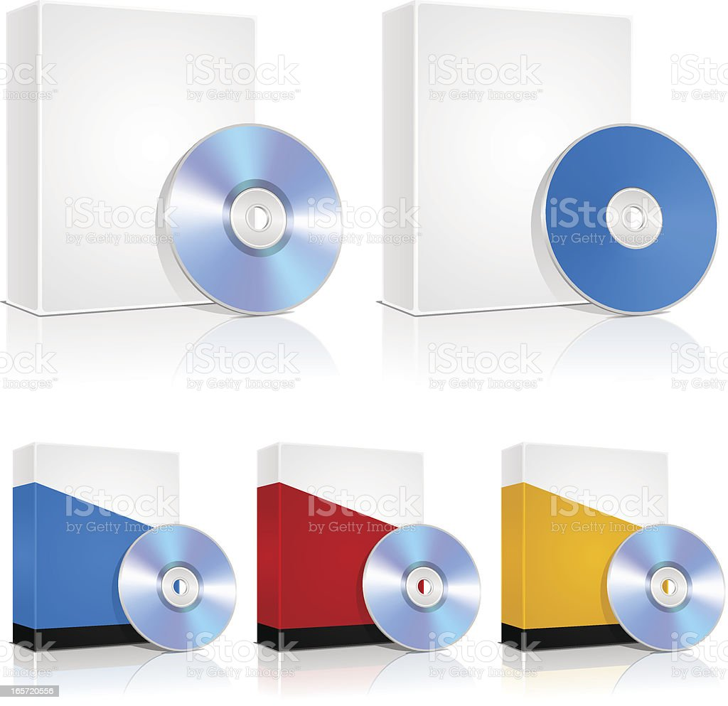 Software boxes and CDs royalty-free stock vector art