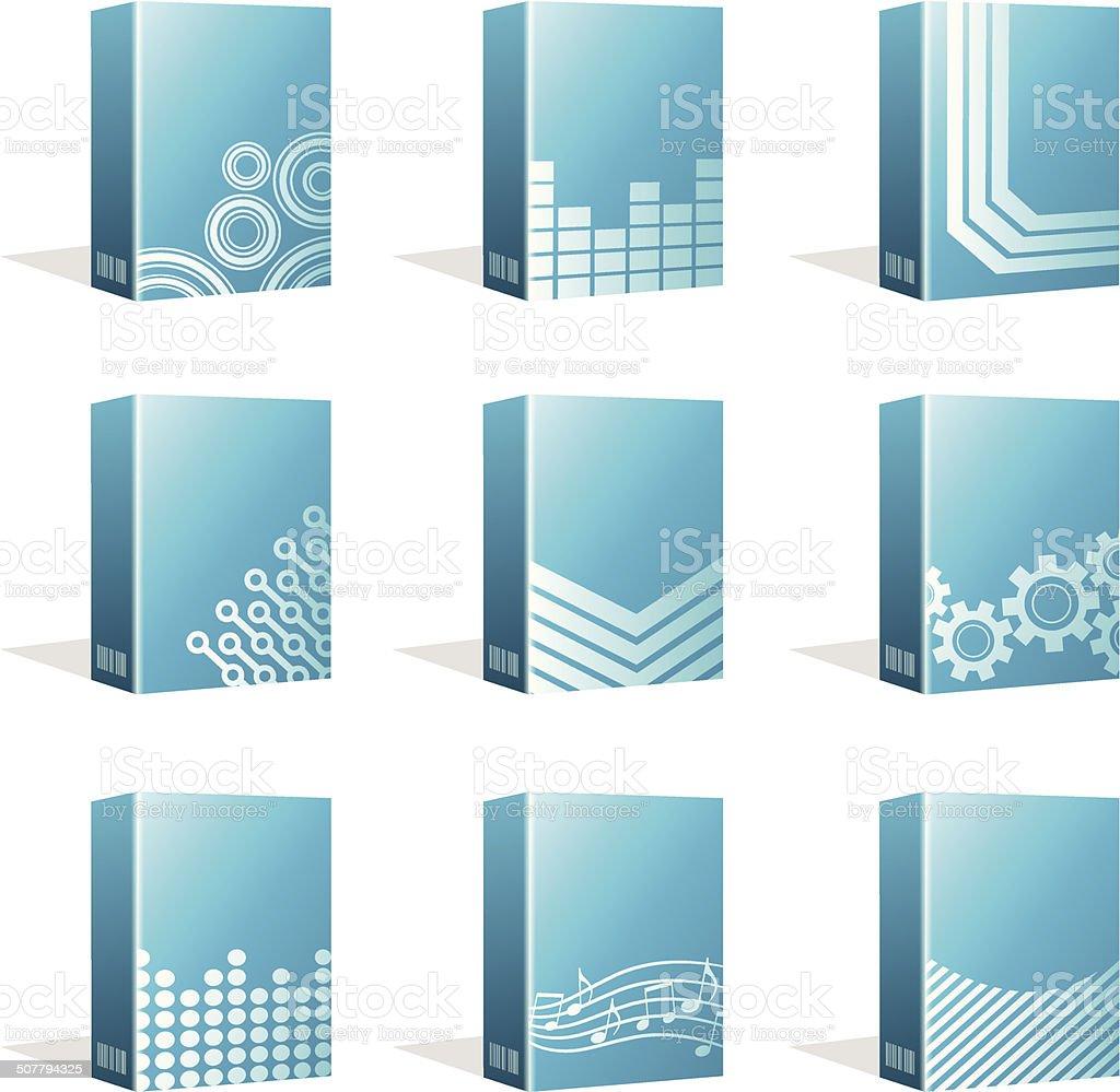 Software Boxes, Ebook Cover Designs vector art illustration