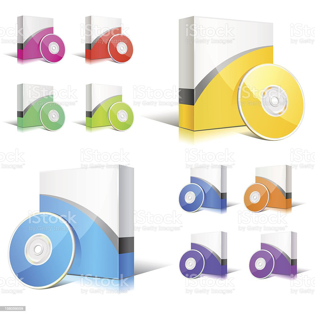 software boxes vector art illustration