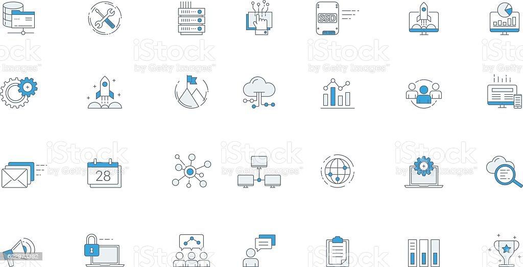 Software Business Futuristic Icon Set vector art illustration