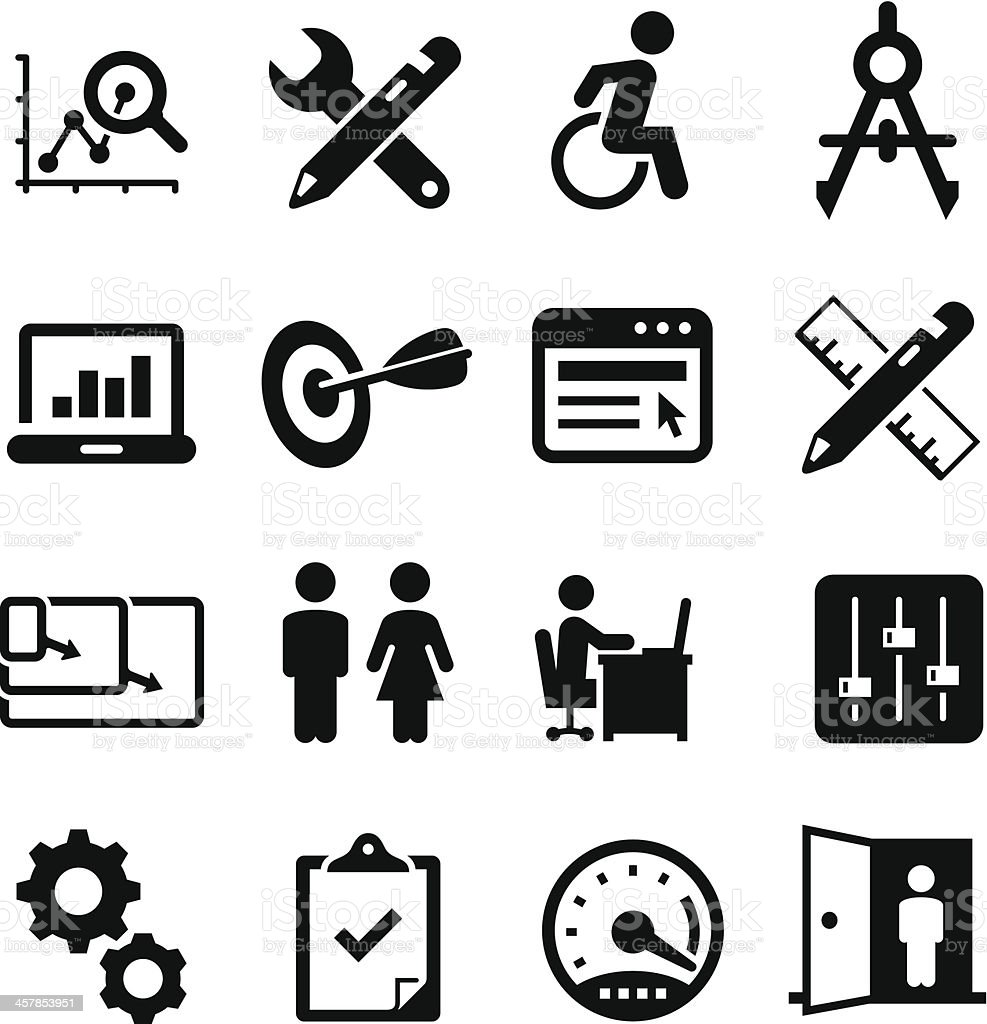 Software Design Icons - Black Series vector art illustration