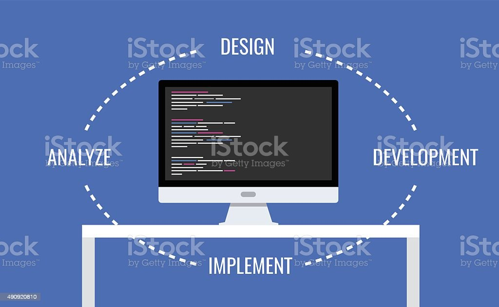 software development vector art illustration