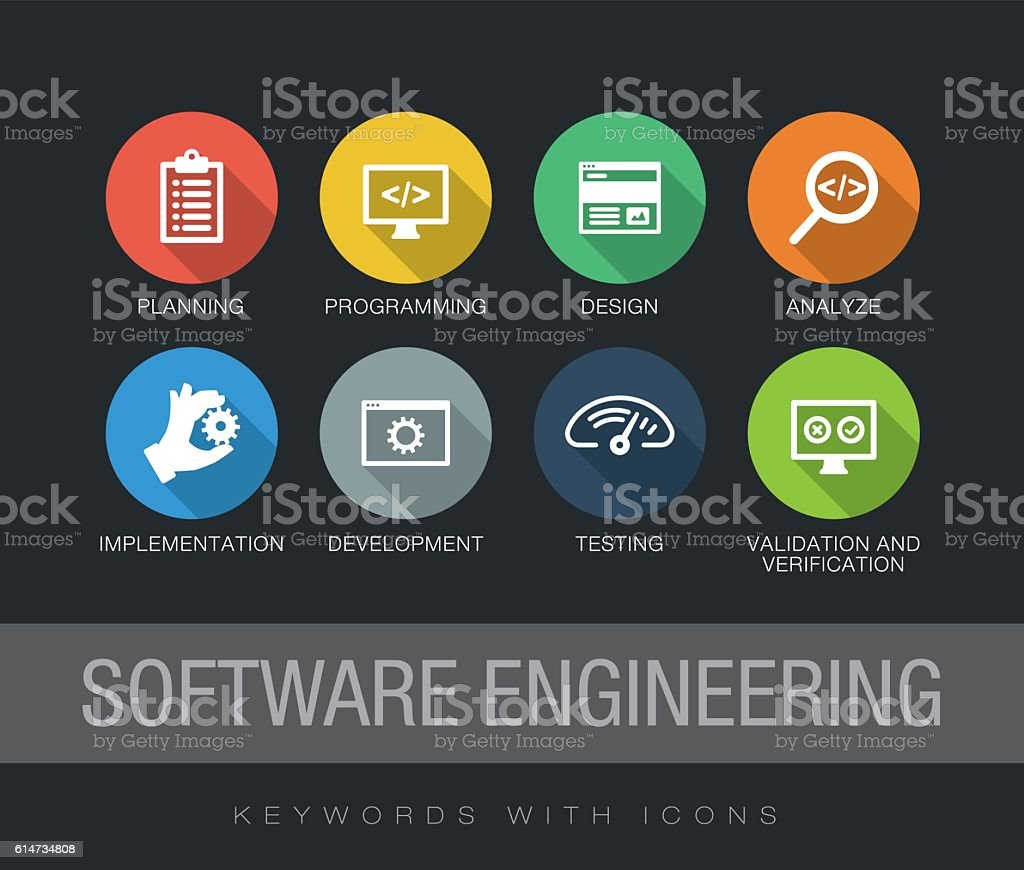 Software Engineering keywords with icons vector art illustration