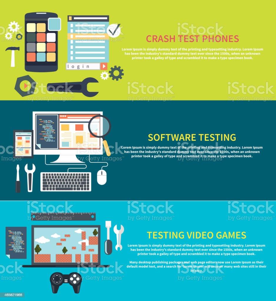 Software, games, phones crash testing vector art illustration