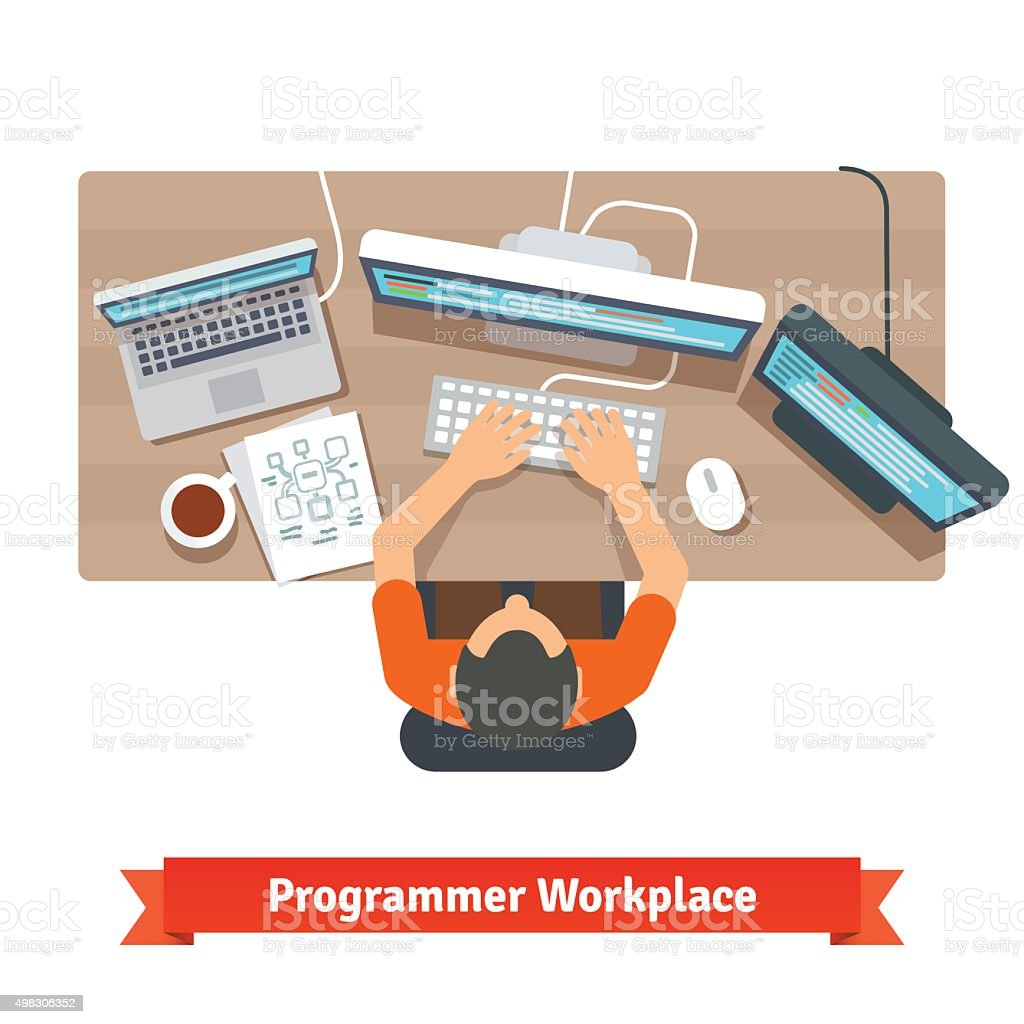 Software programmer typing code or debugging vector art illustration