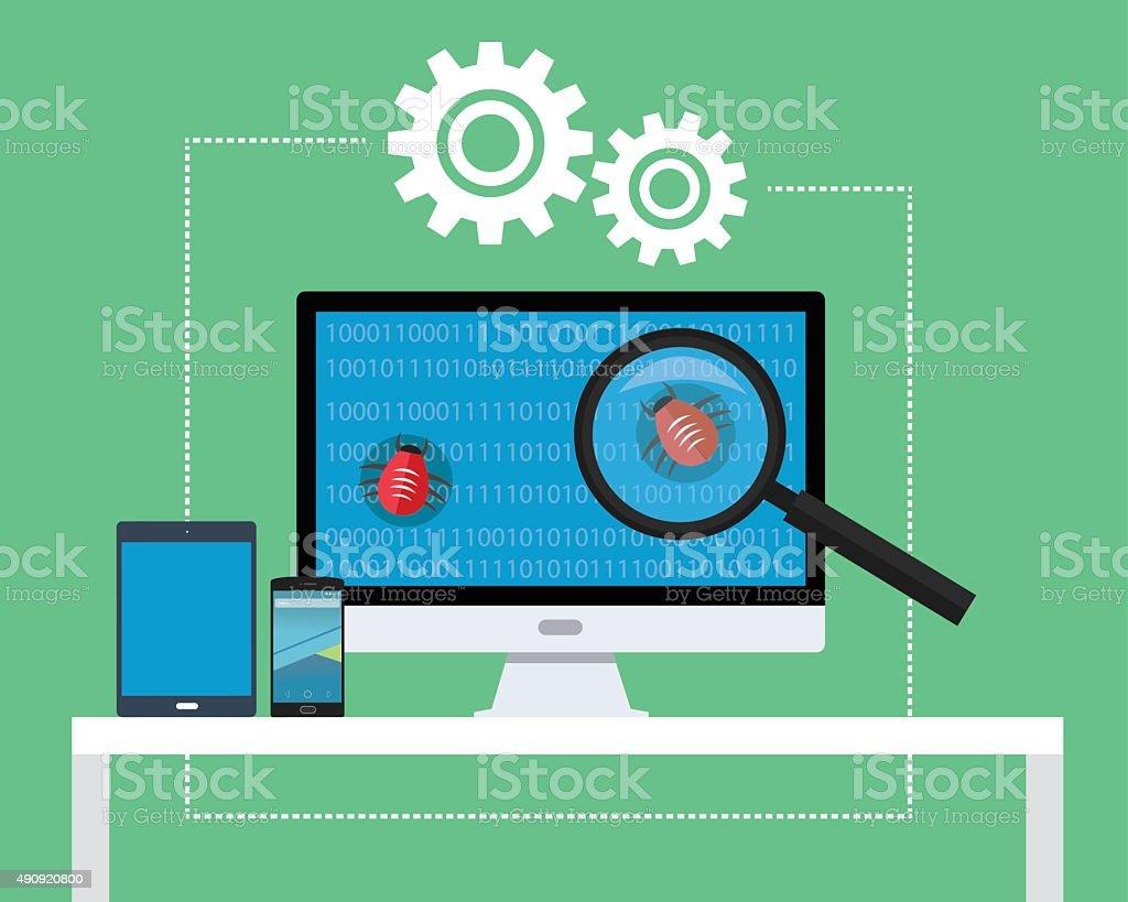 software testing vector art illustration