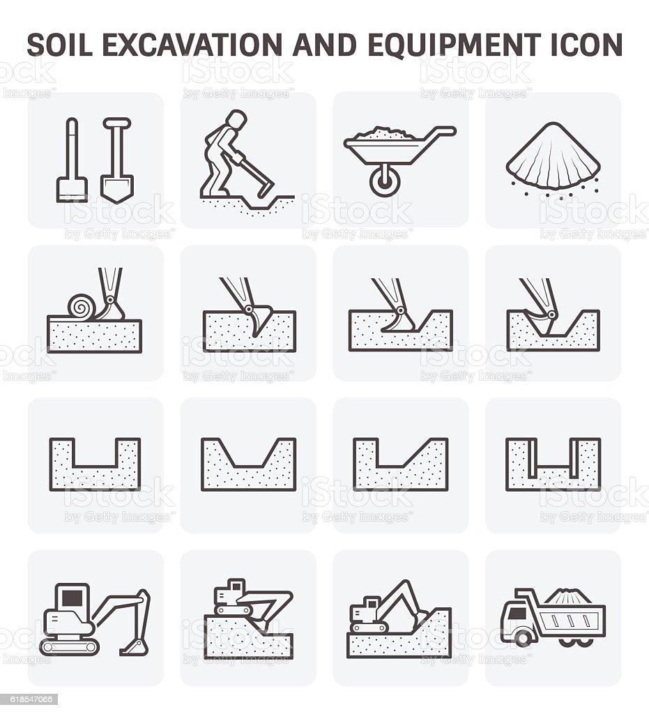 Soil excavation icon vector art illustration