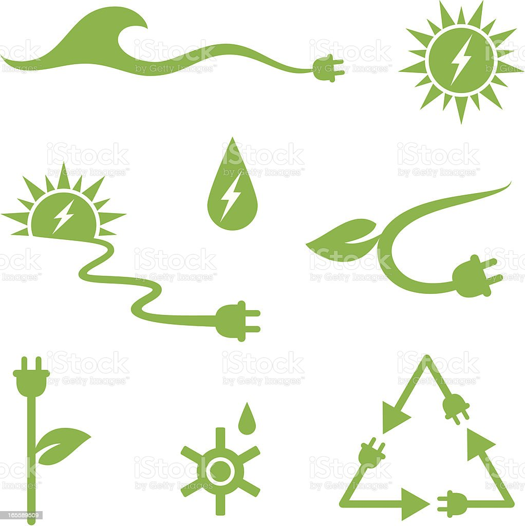 Solar and water power royalty-free stock vector art