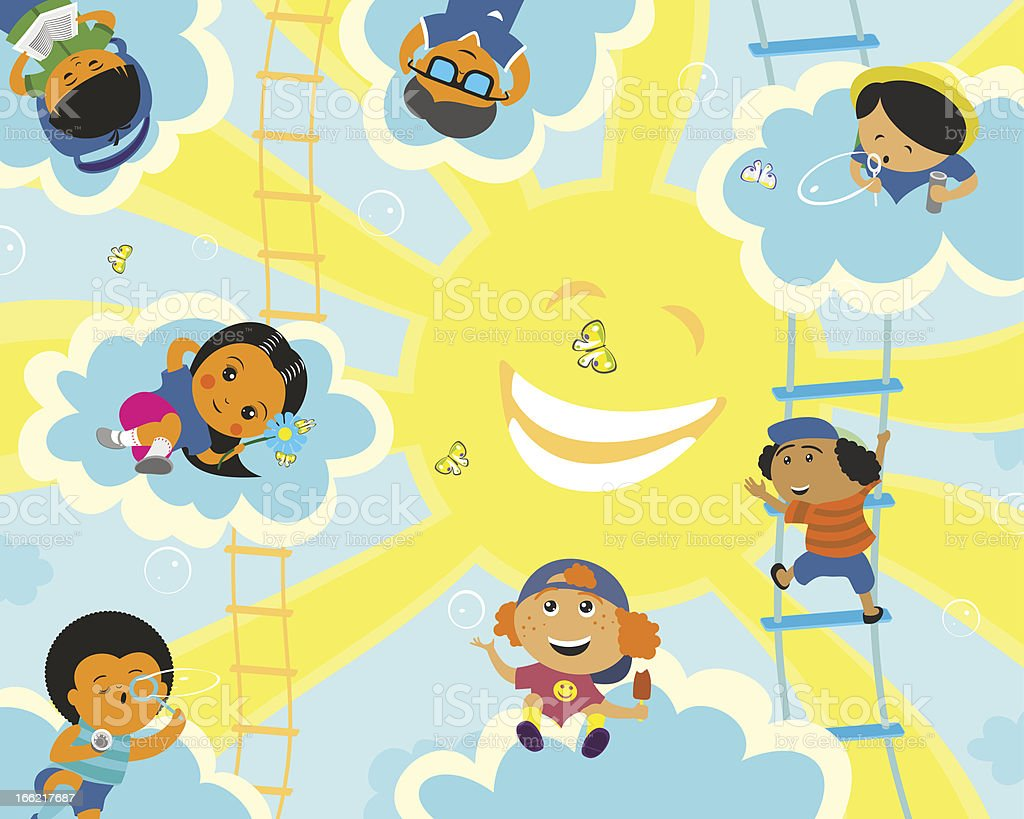 Solar camp for children royalty-free stock vector art