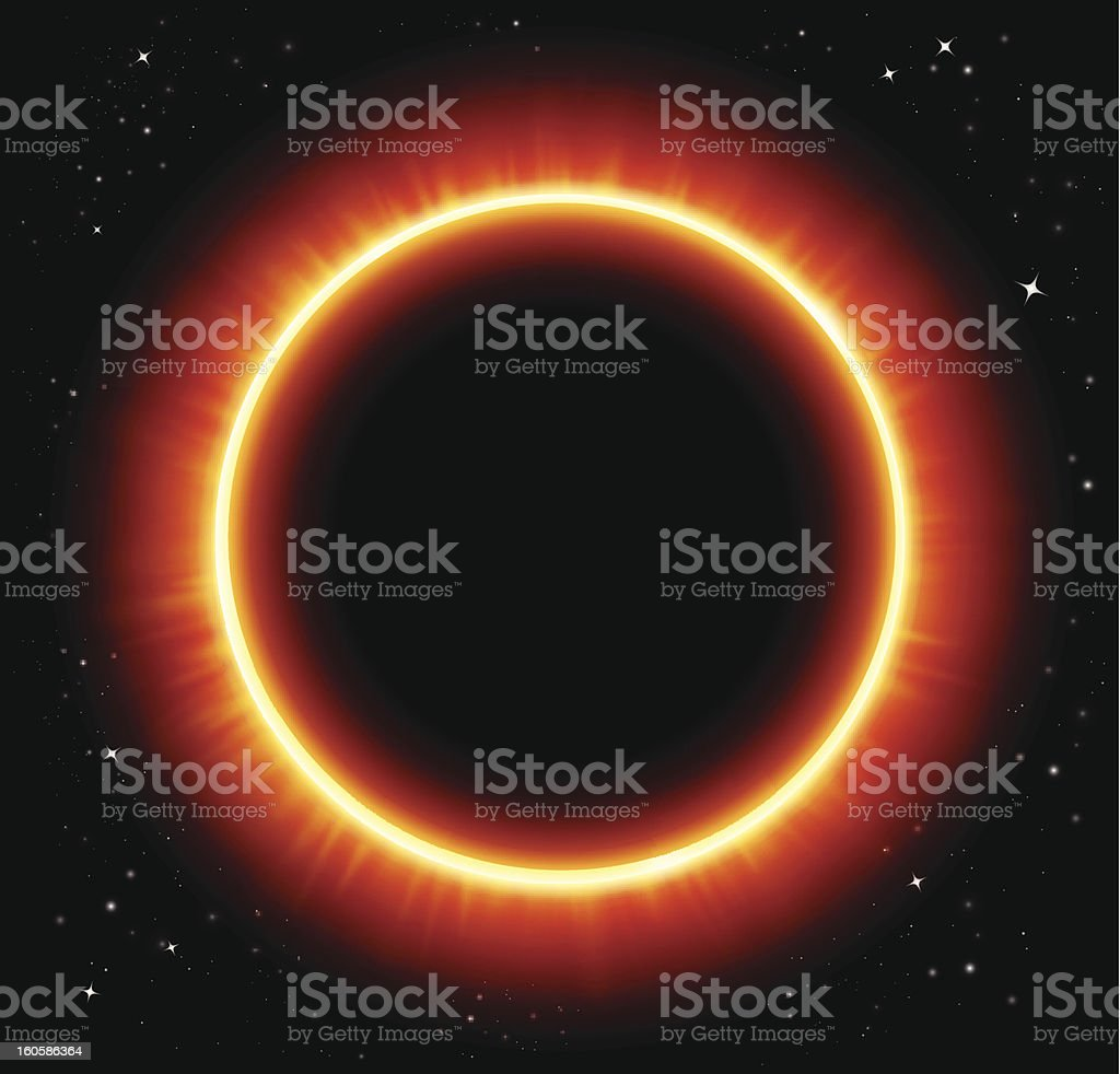 Solar eclipse vector art illustration