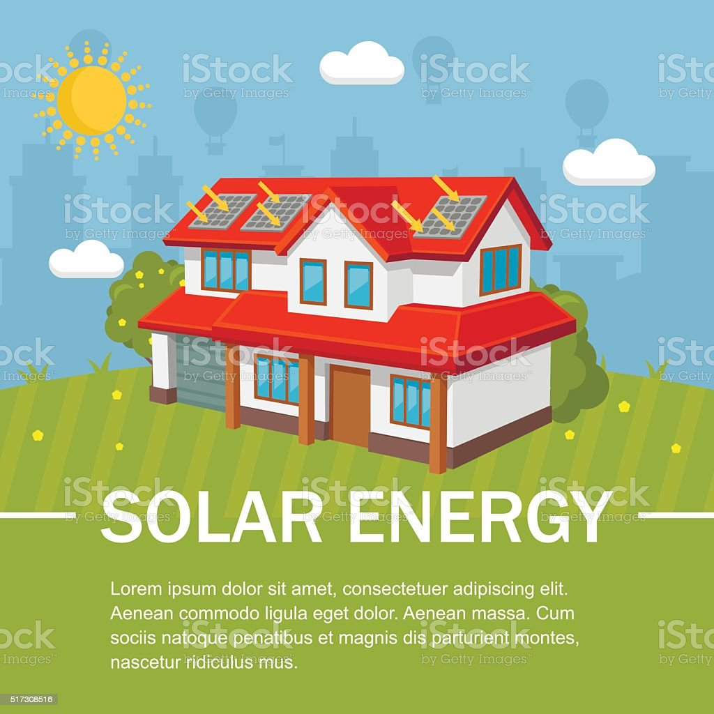 Solar energy panels house ecology vector art illustration