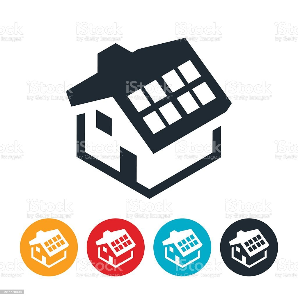 Solar Home Icon vector art illustration