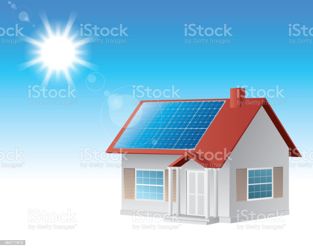 Solar house vector art illustration
