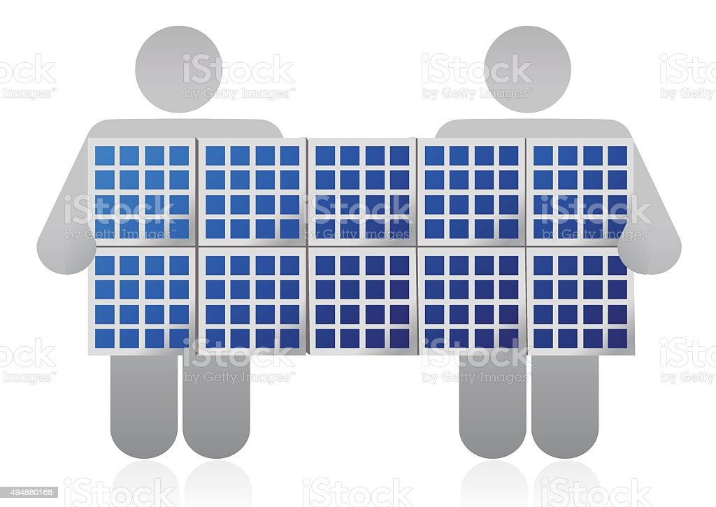 Solar panel competition vector art illustration