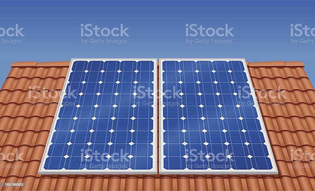 Solar Panel on the roof (Vector) vector art illustration