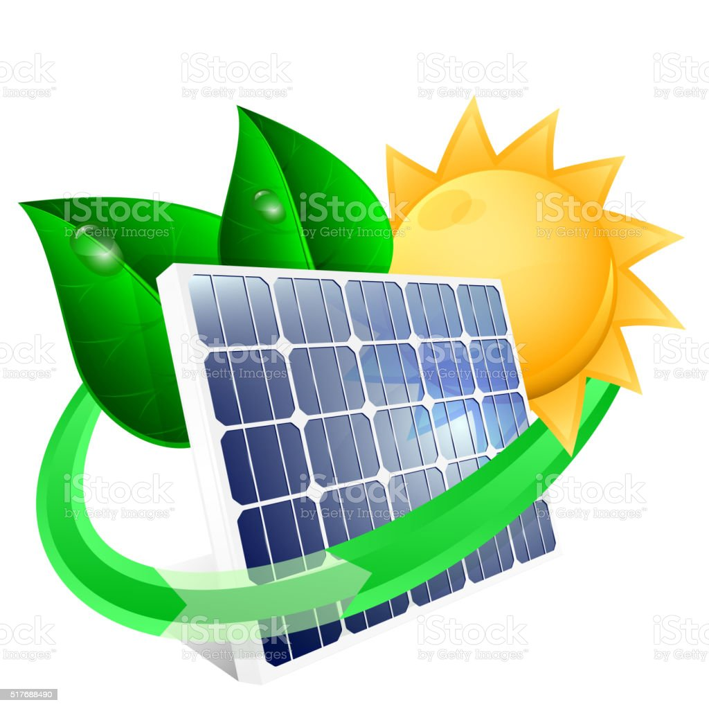 Solar panel with green leafs vector art illustration