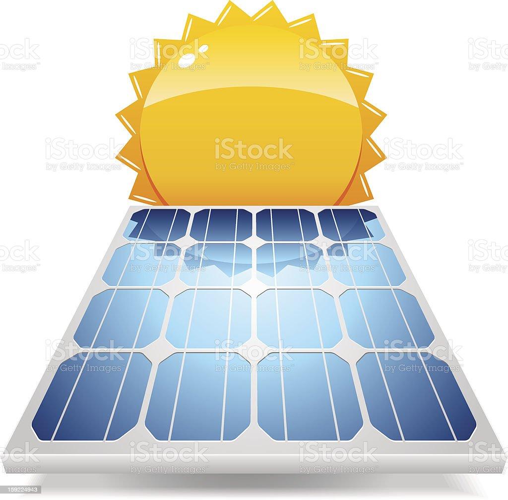 Solar panel with sun vector art illustration