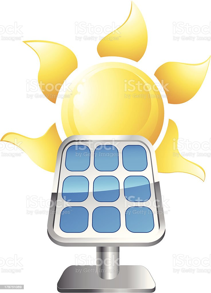 solar panel with sun royalty-free stock vector art